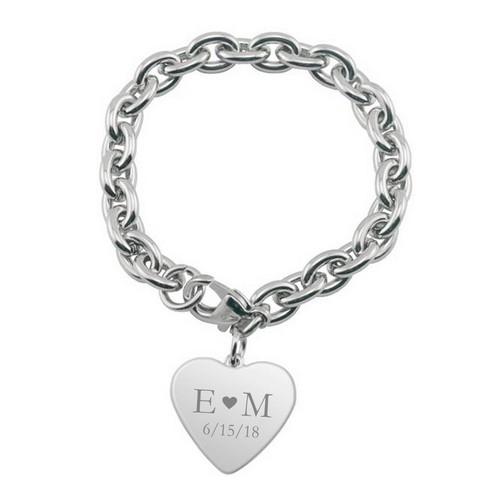Description: Personalized Couples Heart Charm Bracelet